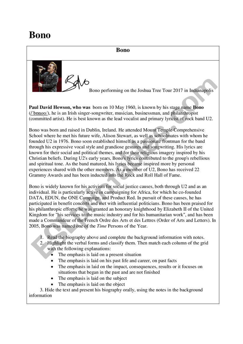 Biography Bono worksheet worksheet