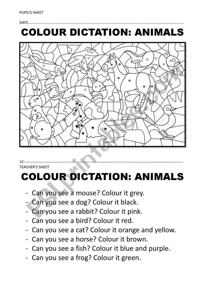 COLOUR + ANIMAL DICTATION worksheet