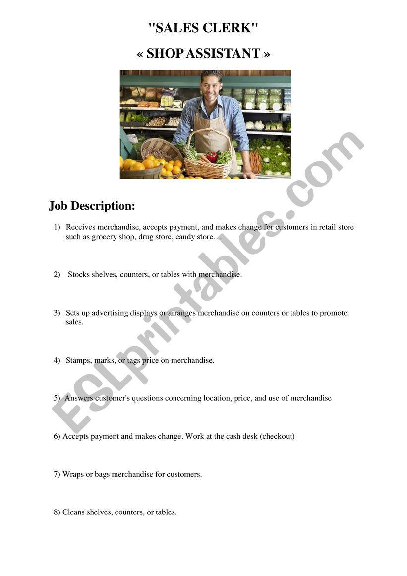 Shop assistant worksheet