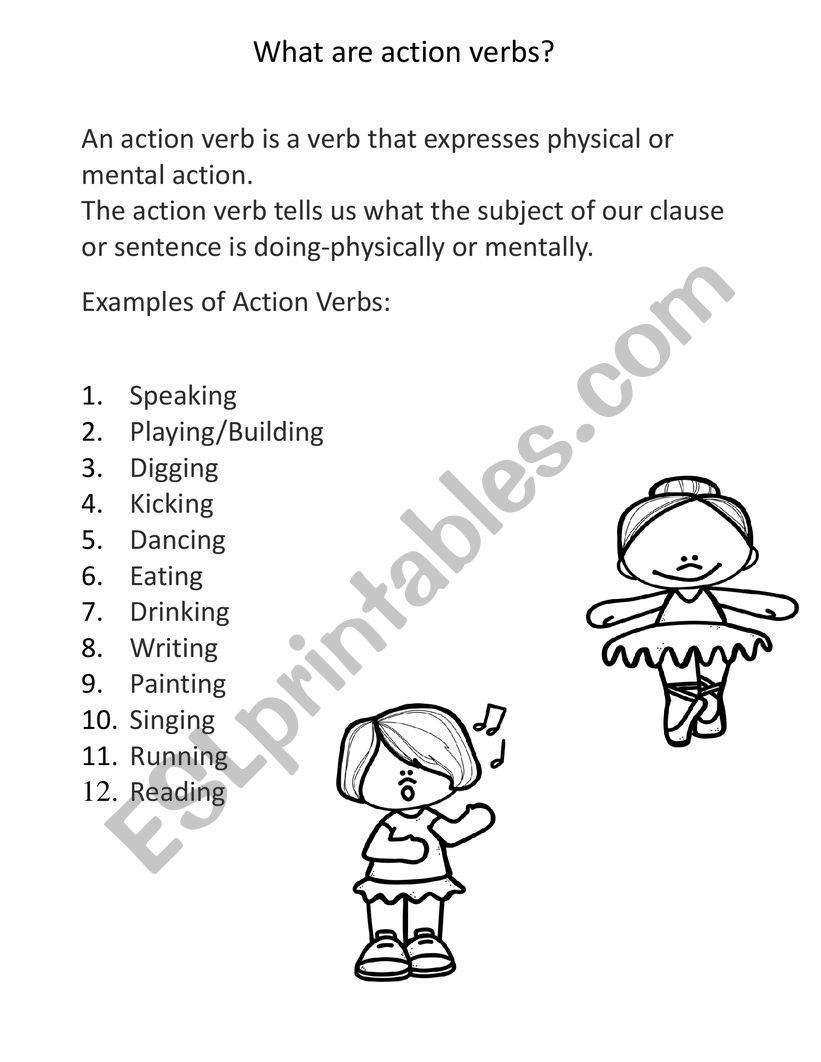 Action Verbs Esl Worksheet By Meljean [ 1062 x 821 Pixel ]