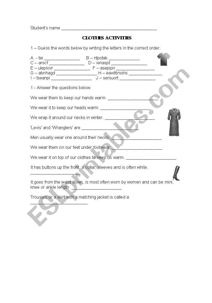 CLOTHES ACTIVITY worksheet