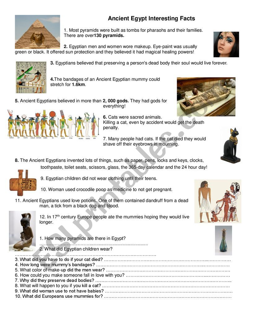 Ancient Egypt Interesting Facts