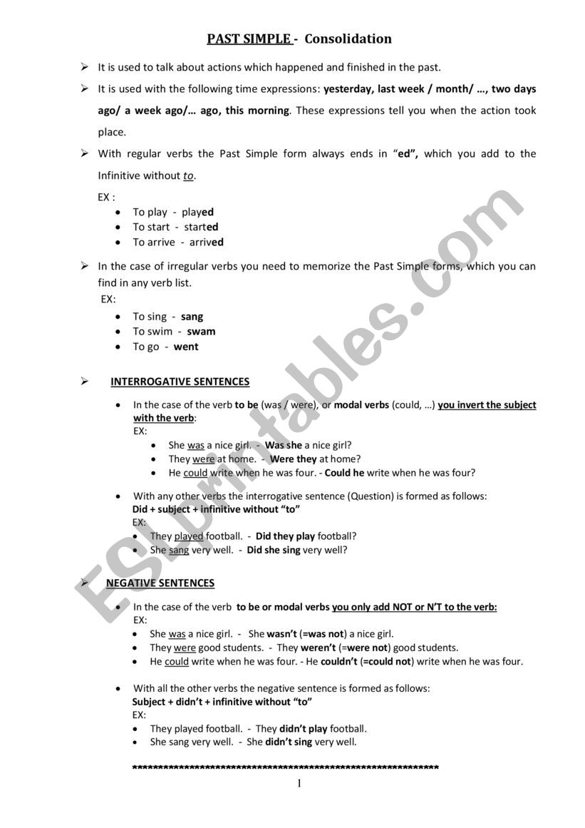 Past Simple- Consolidation worksheet