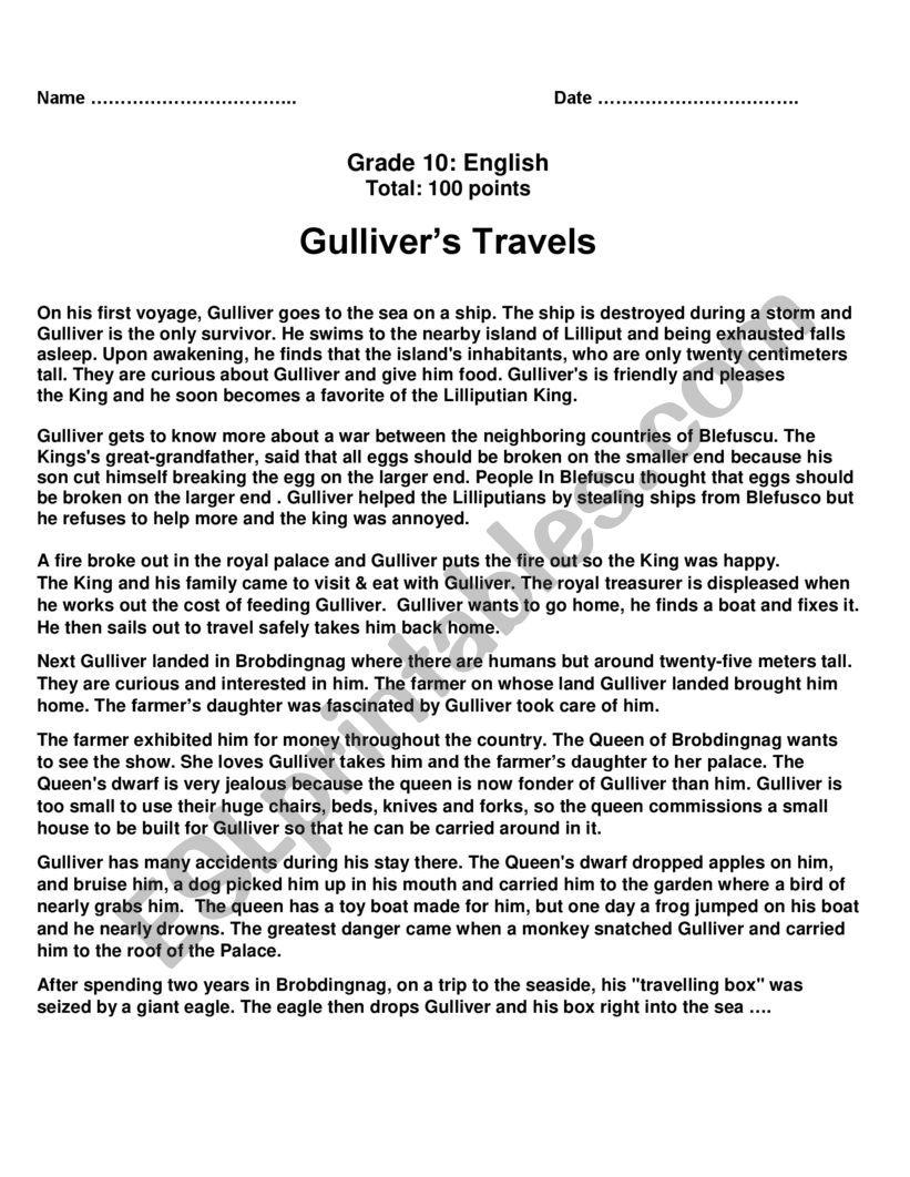 Gulliver´s Travels worksheet
