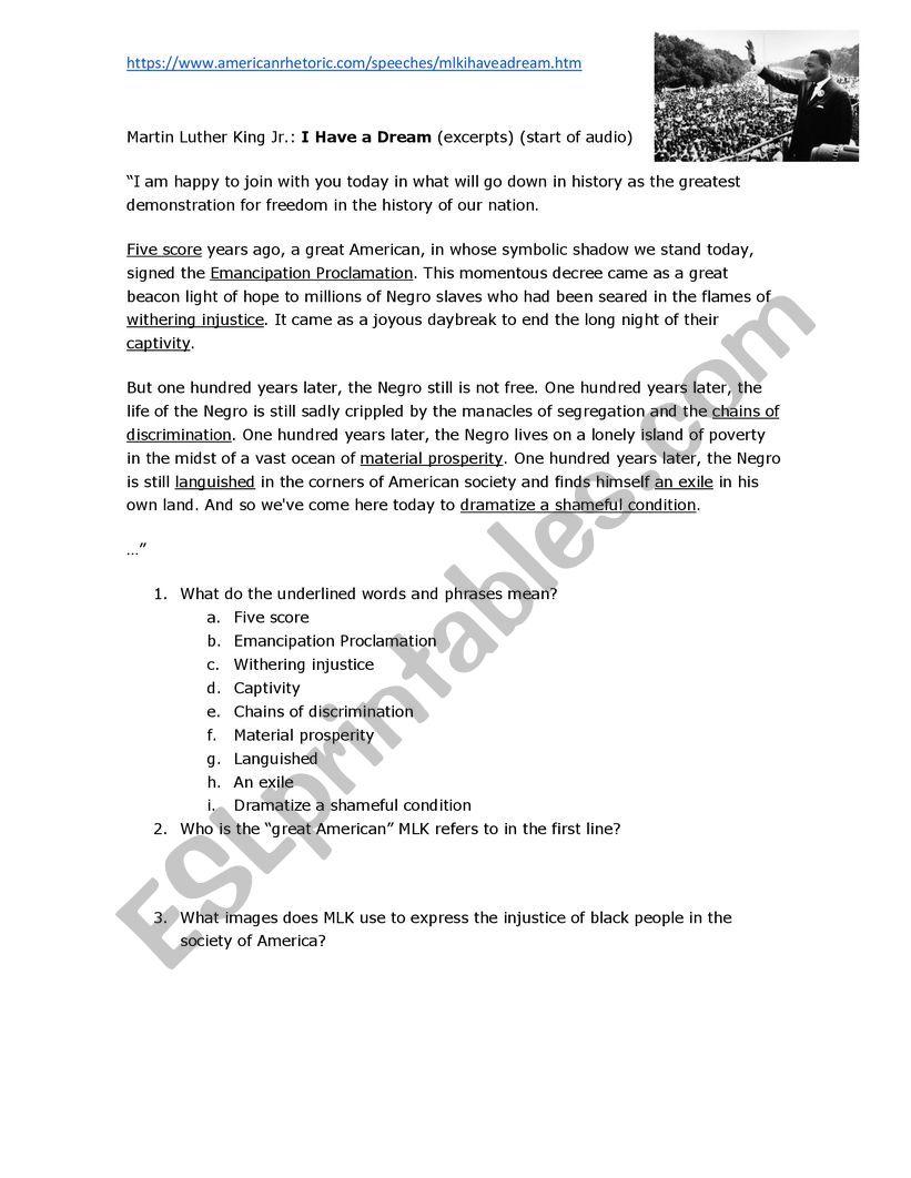 I Have A Dream Speech Martin Luther King Esl Worksheet By Fredricksonjim