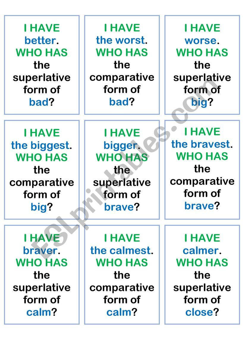 Comparative and superlative I HAVE WHO HAS game