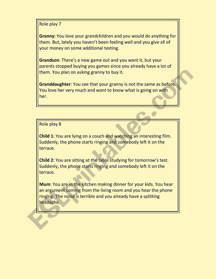 Role Plays Esl Worksheet By Mszoka