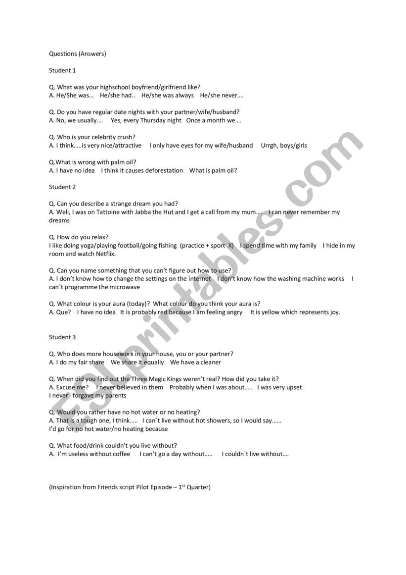 Questions for Answers for Questions - ESL worksheet by