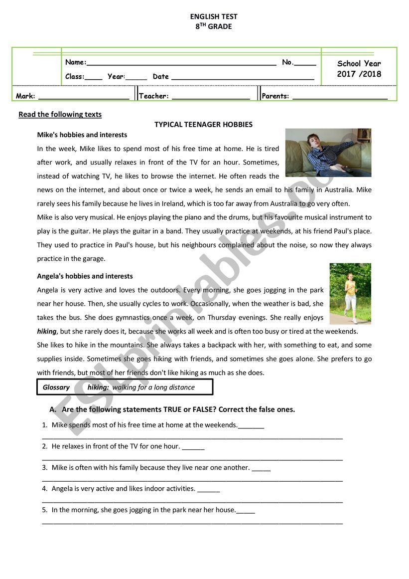 test about hobbies/interests worksheet