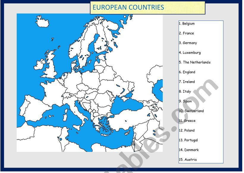 Map of Europe to complete worksheet