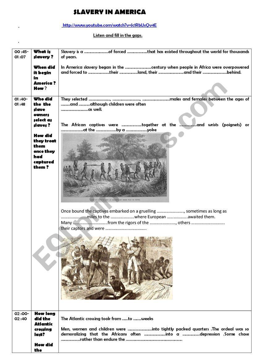 Slavery in America worksheet