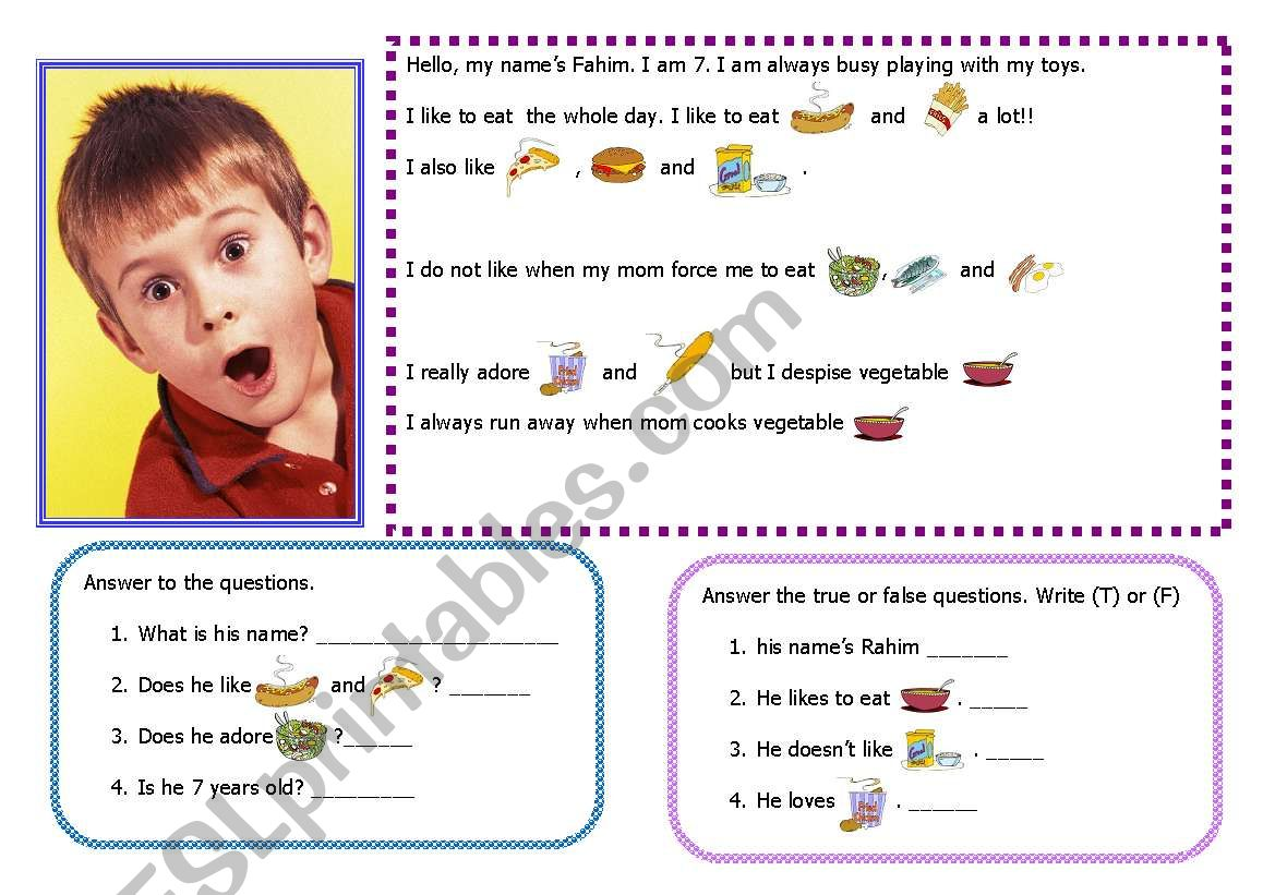 Reading about likes, dislikes, food vocabulary 14-08-08