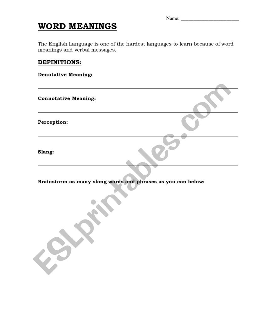 Word Meanings - ESL worksheet by lindseypetropoulos@pisd edu