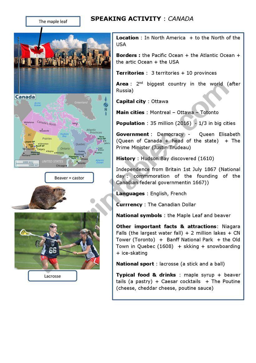 present Canada orally worksheet
