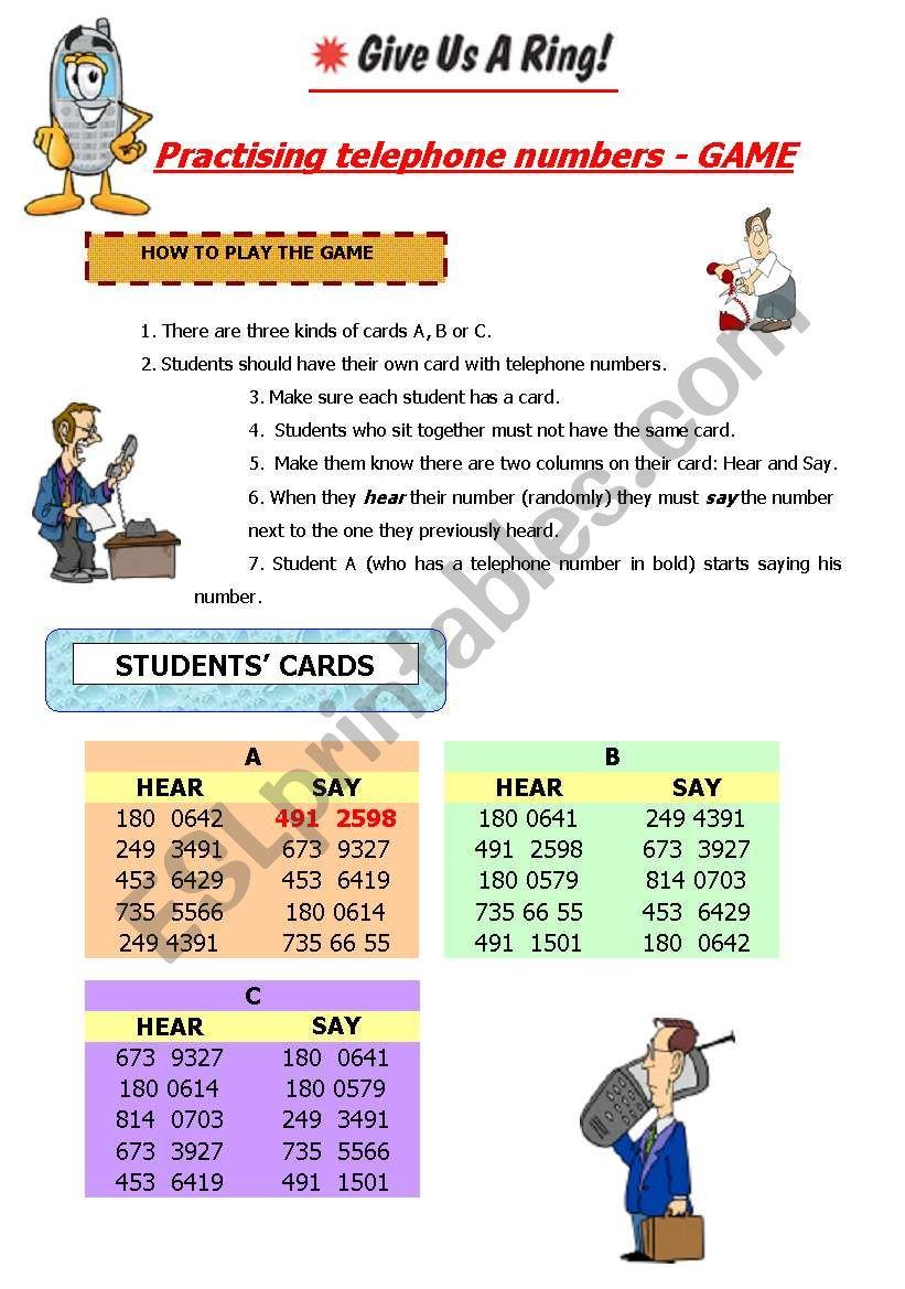 Telephone numbers game worksheet