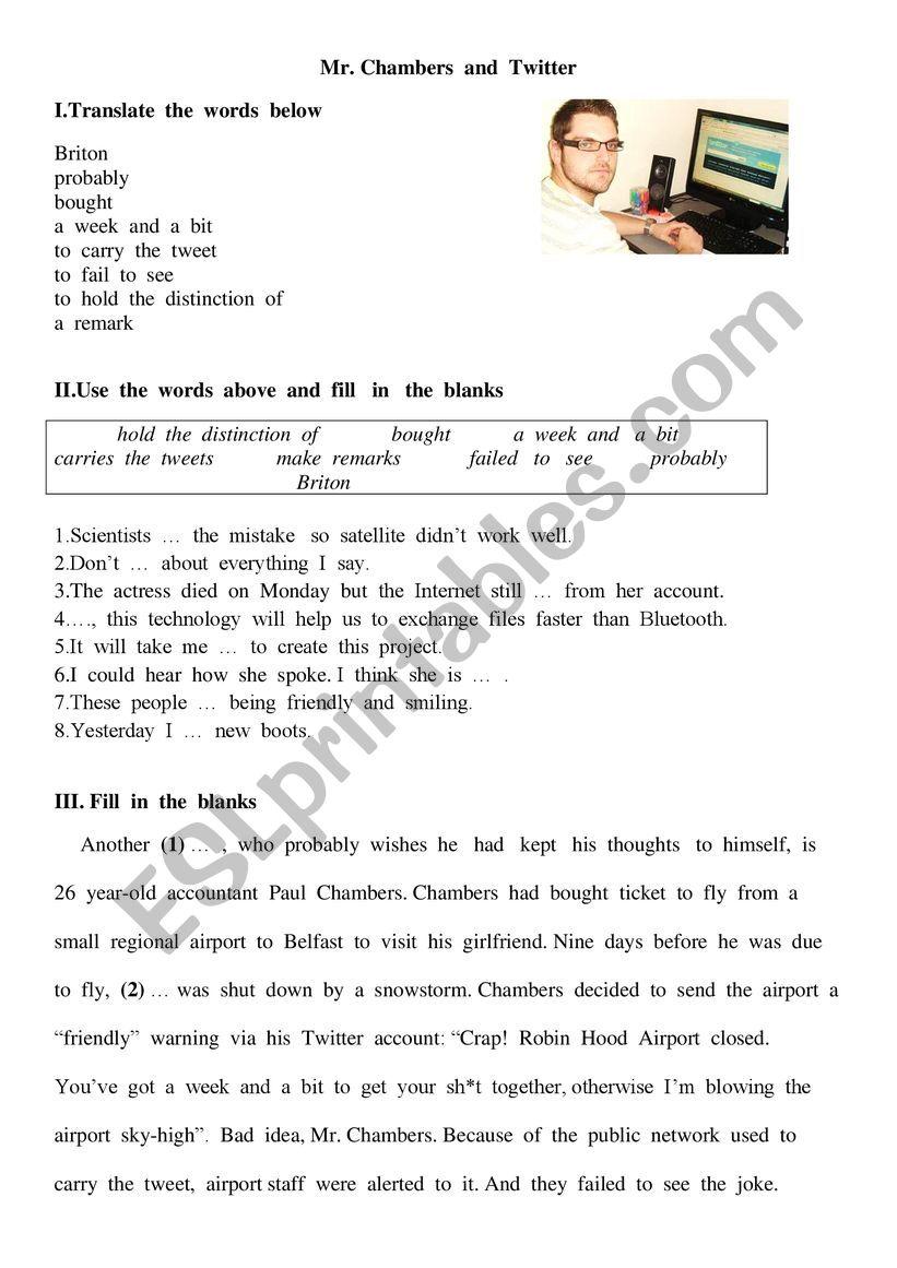 Twitter and Paul Chambers worksheet