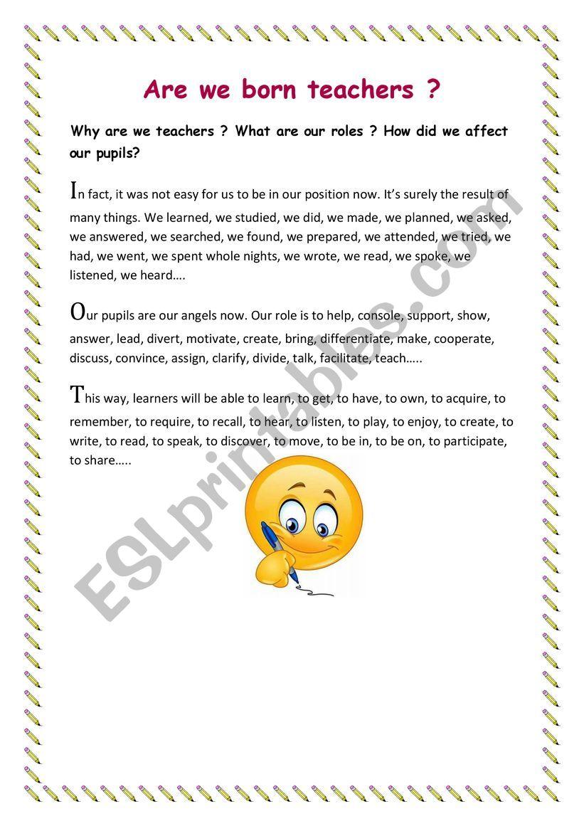 Are we born teachers? worksheet
