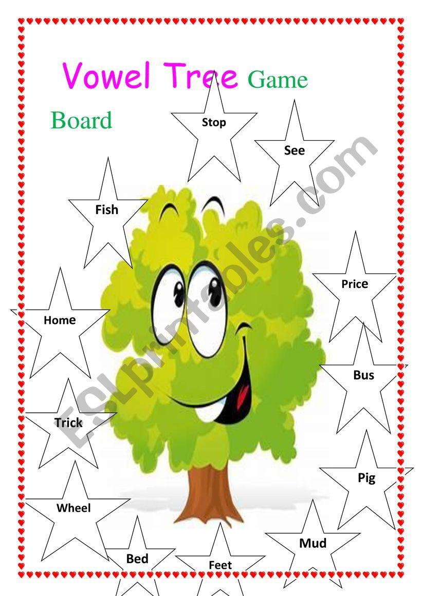 Vowel Tree Game Board worksheet