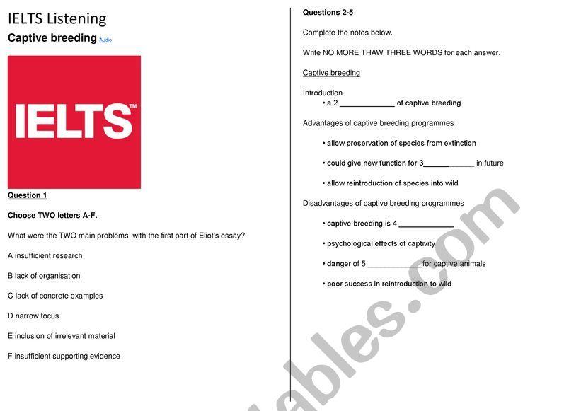 Advanced listening - IELTS - Captive breeding