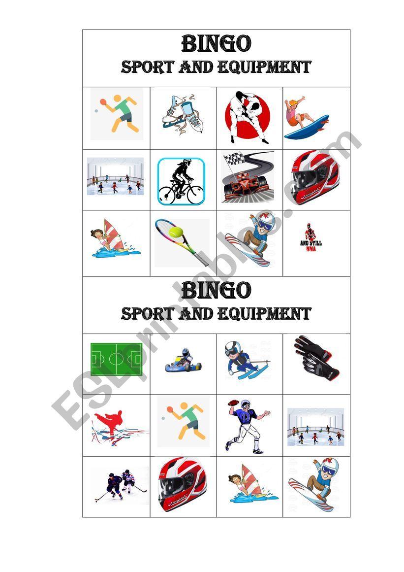 BINGO Sports and Equipment worksheet