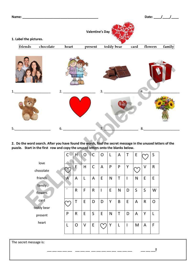 Valentine´s Day worksheet