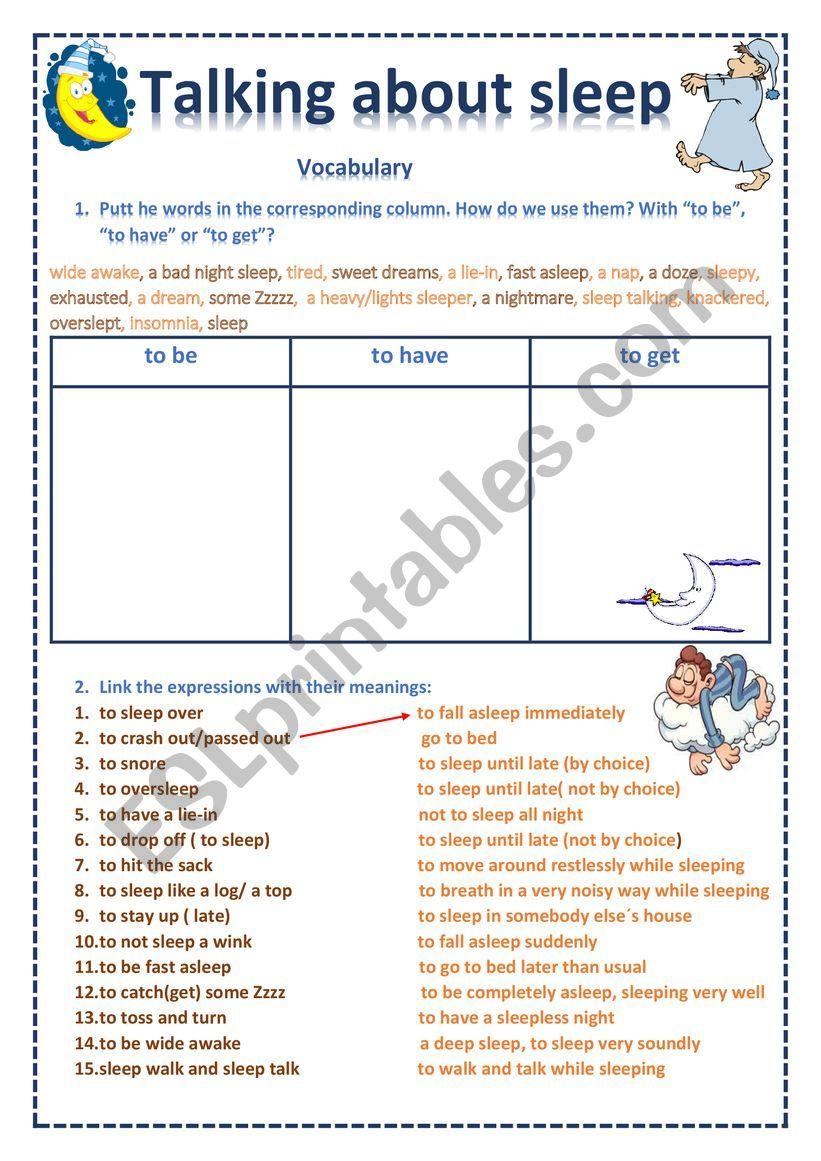 Sleeping vocabulary worksheet