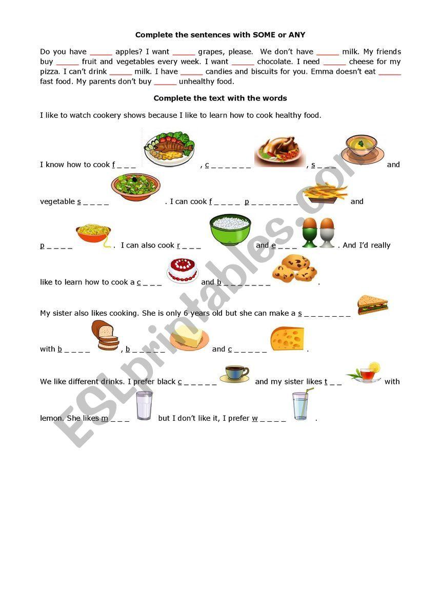 Food Vocabulary Pictionary Writing