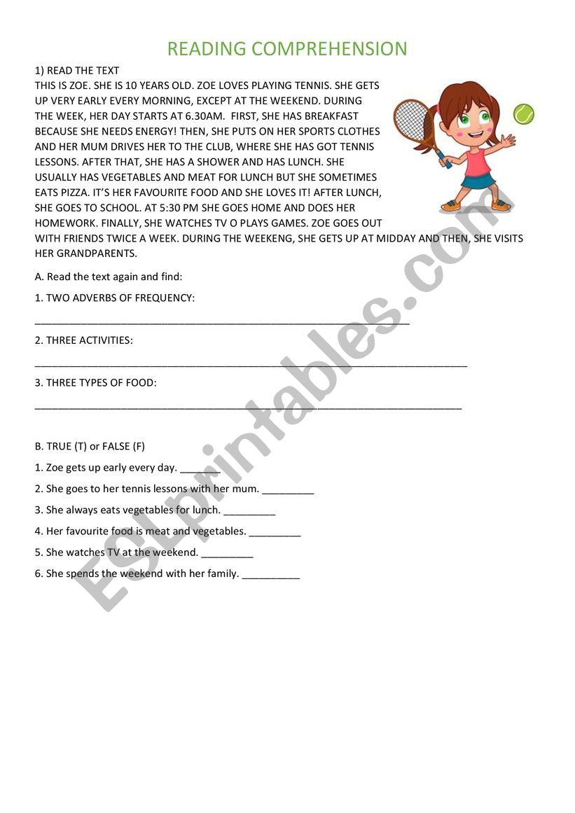 - EASY READING COMPREHENSION - PRESENT SIMPLE - ESL Worksheet By