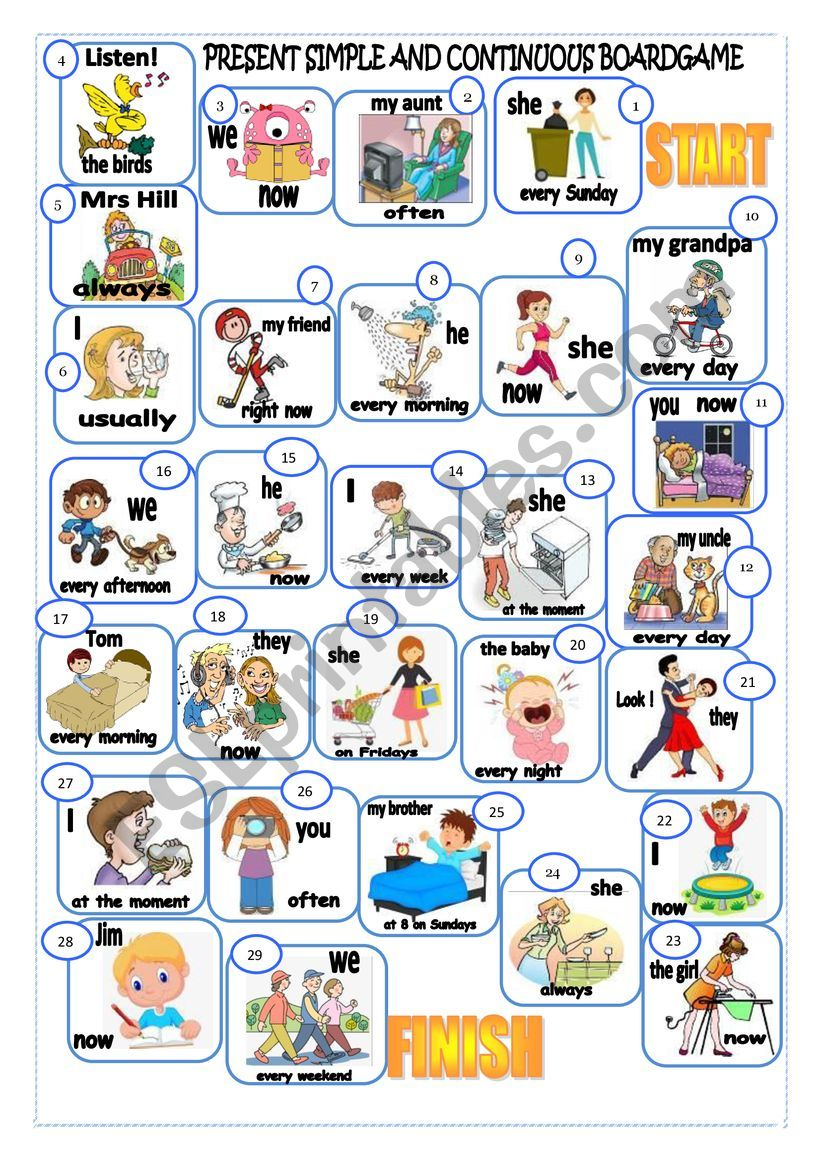 Present Simple And Continuous Boardgame Esl Worksheet By Martinasvabova