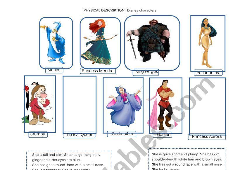 Physical Description Disney Characters Esl Worksheet By Faurfab