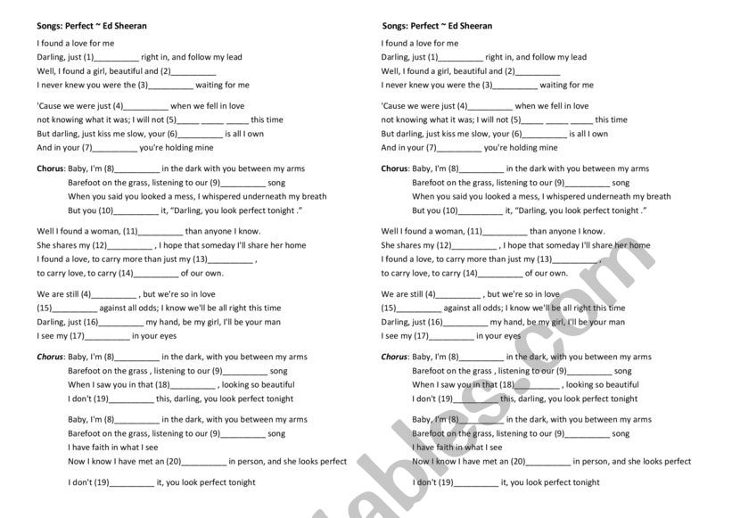 Ed Sheeran Lyrics - ESL worksheet by muchiux09
