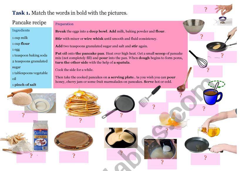 Quiz. Pancake recipe.  worksheet