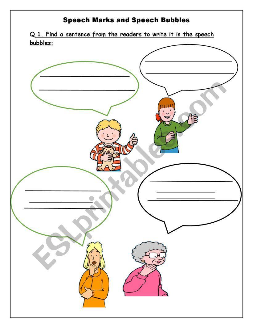 Speech Marks and Speech bubbles - ESL worksheet by YousraASR