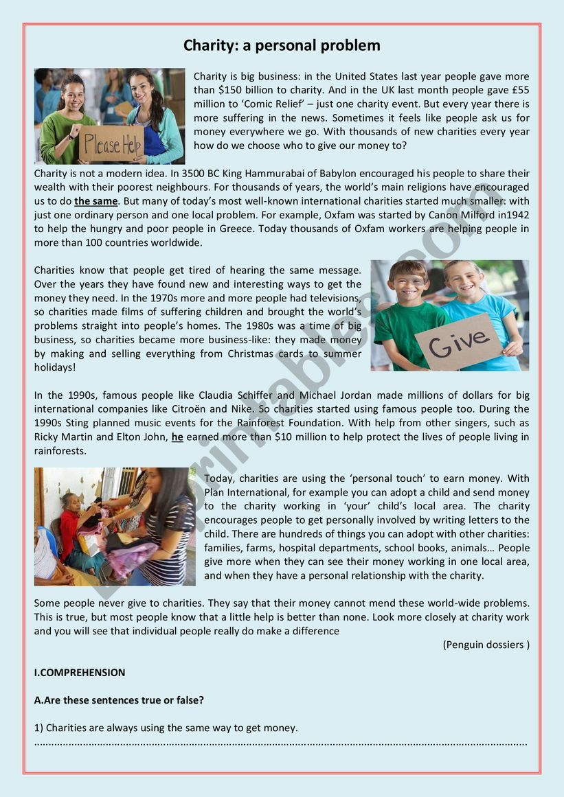 CHARITY : A PERSONAL PROBLEM worksheet