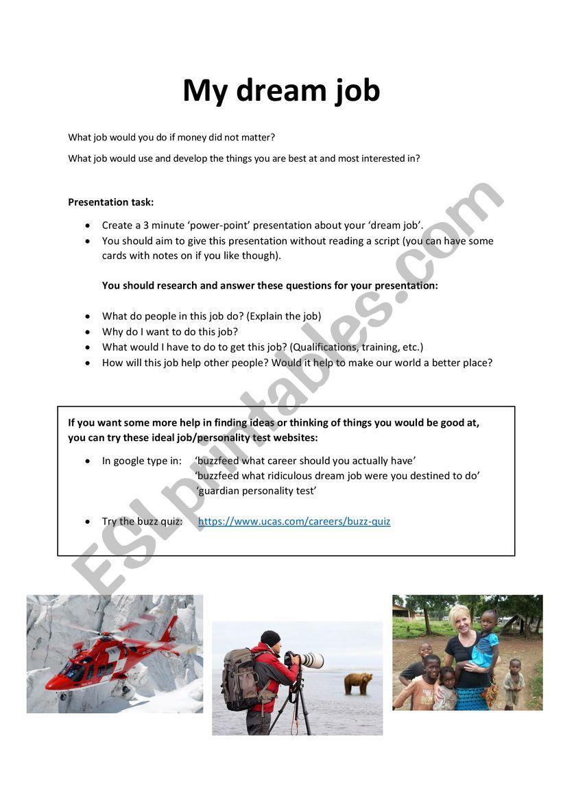 My Dream Job Presentation Updated Esl Worksheet By Itsgood 86