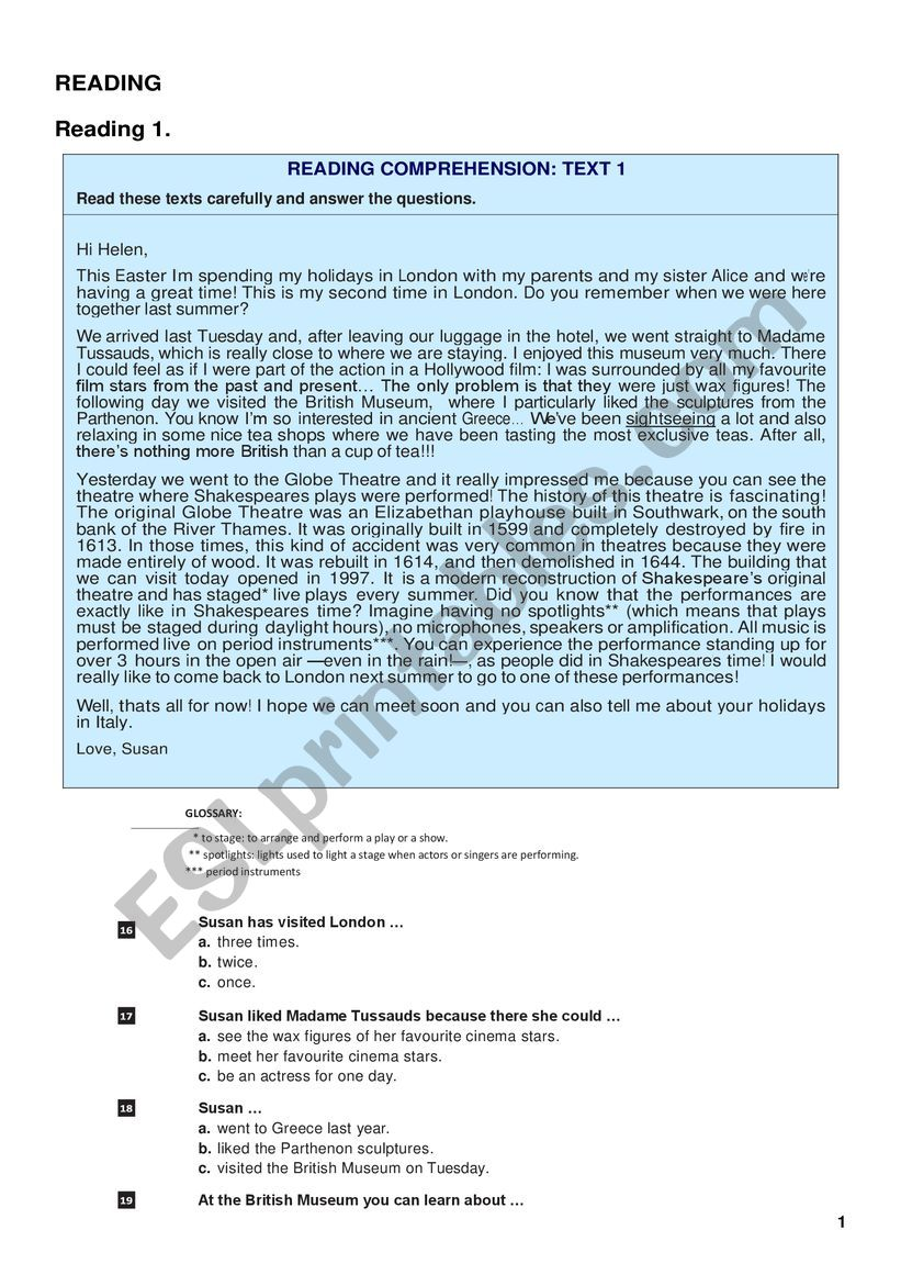 Reading with key worksheet