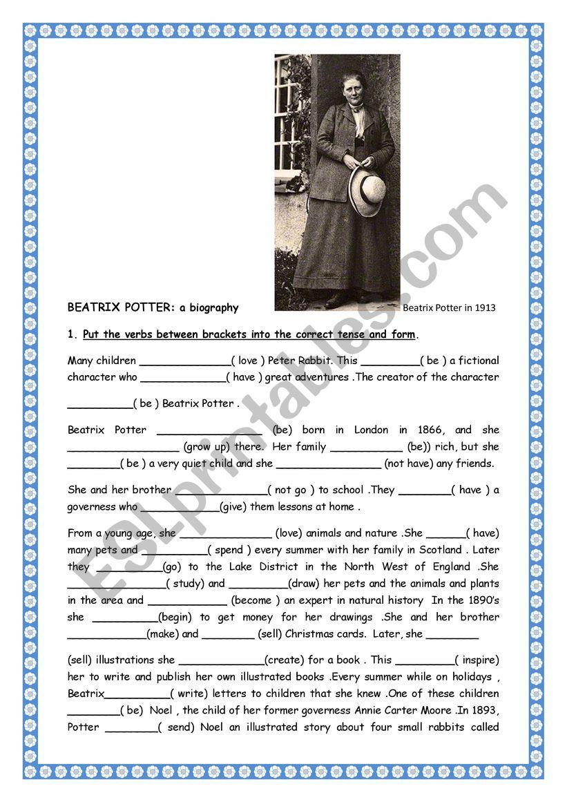Beatrix Potter : a biography worksheet