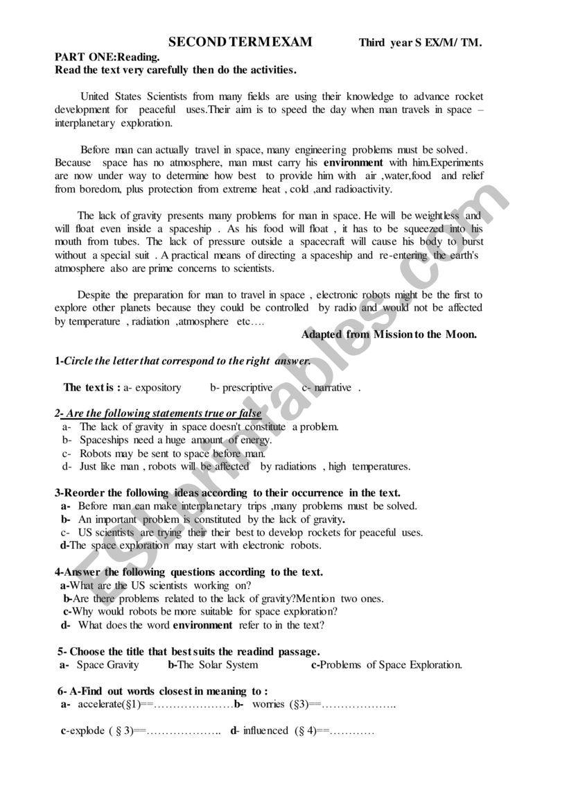 SECOND TERM EXAM  worksheet
