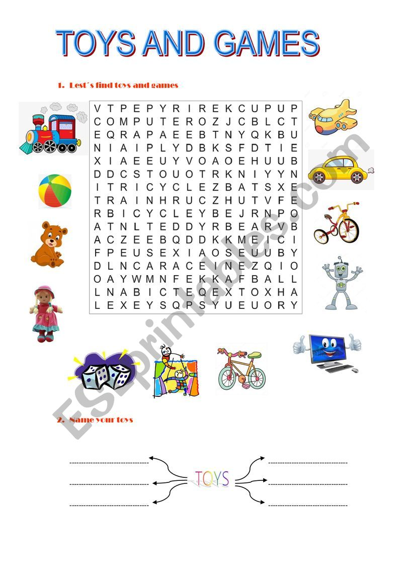 Toys and games worksheet