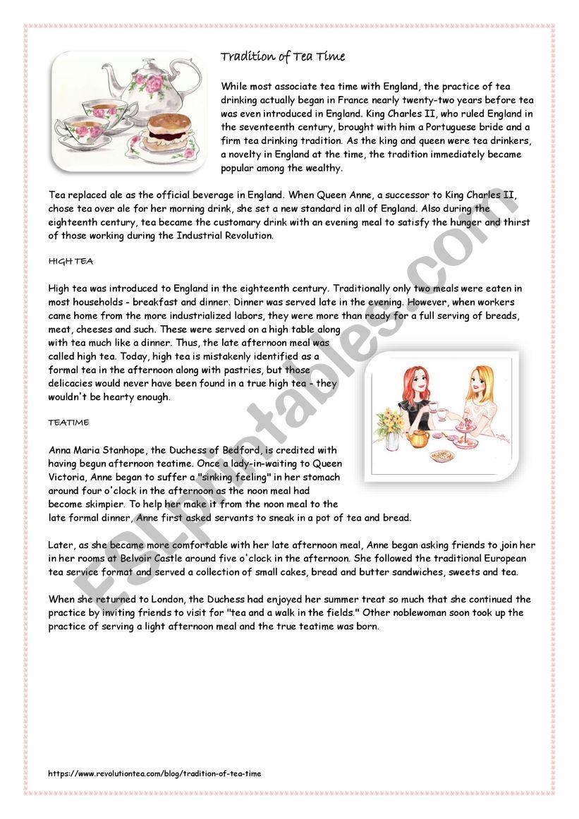 Tradition of Tea time worksheet