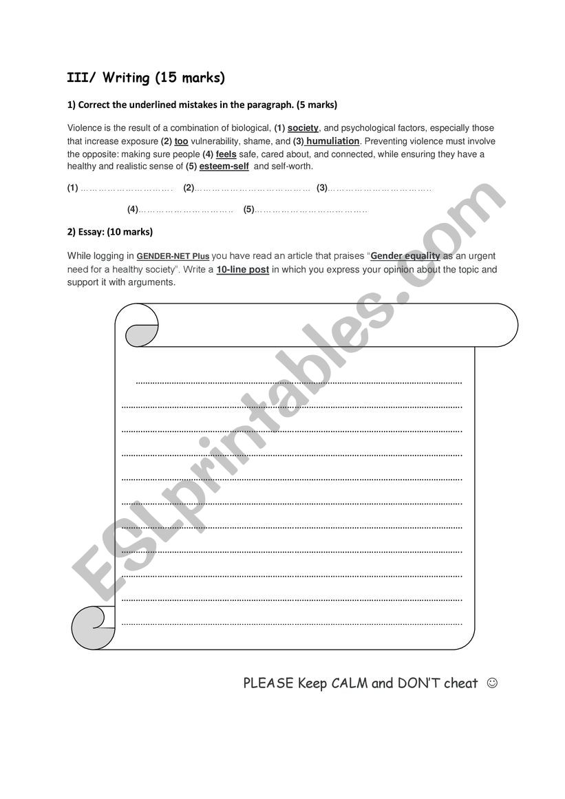 writing for second form  worksheet