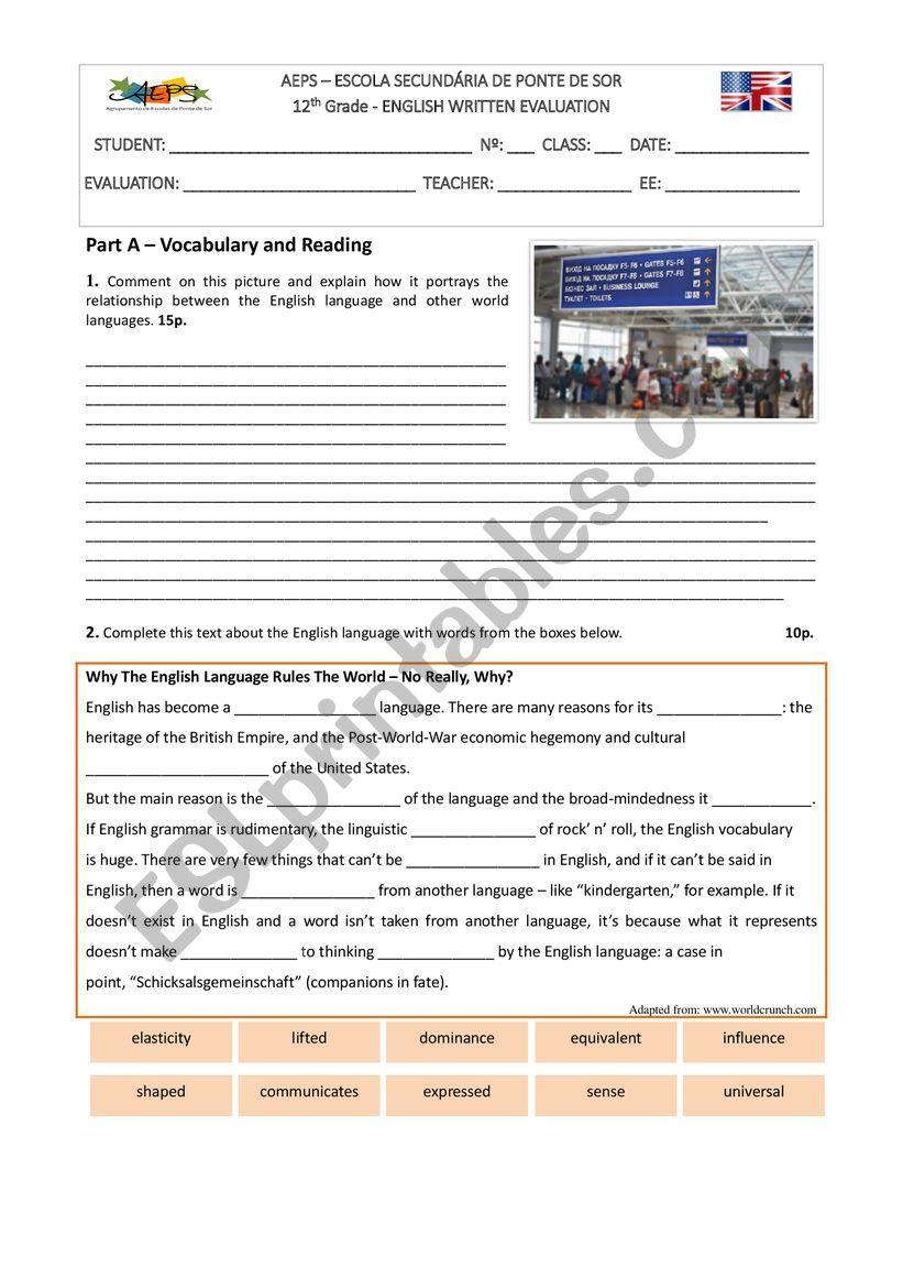 Test on Global English worksheet
