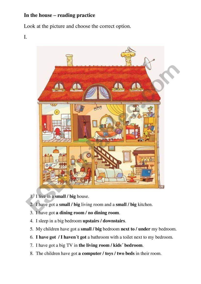 Rooms in the house simple reading activity