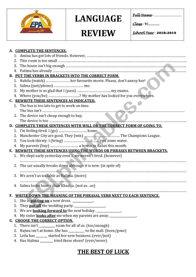 mixed language worksheet worksheet
