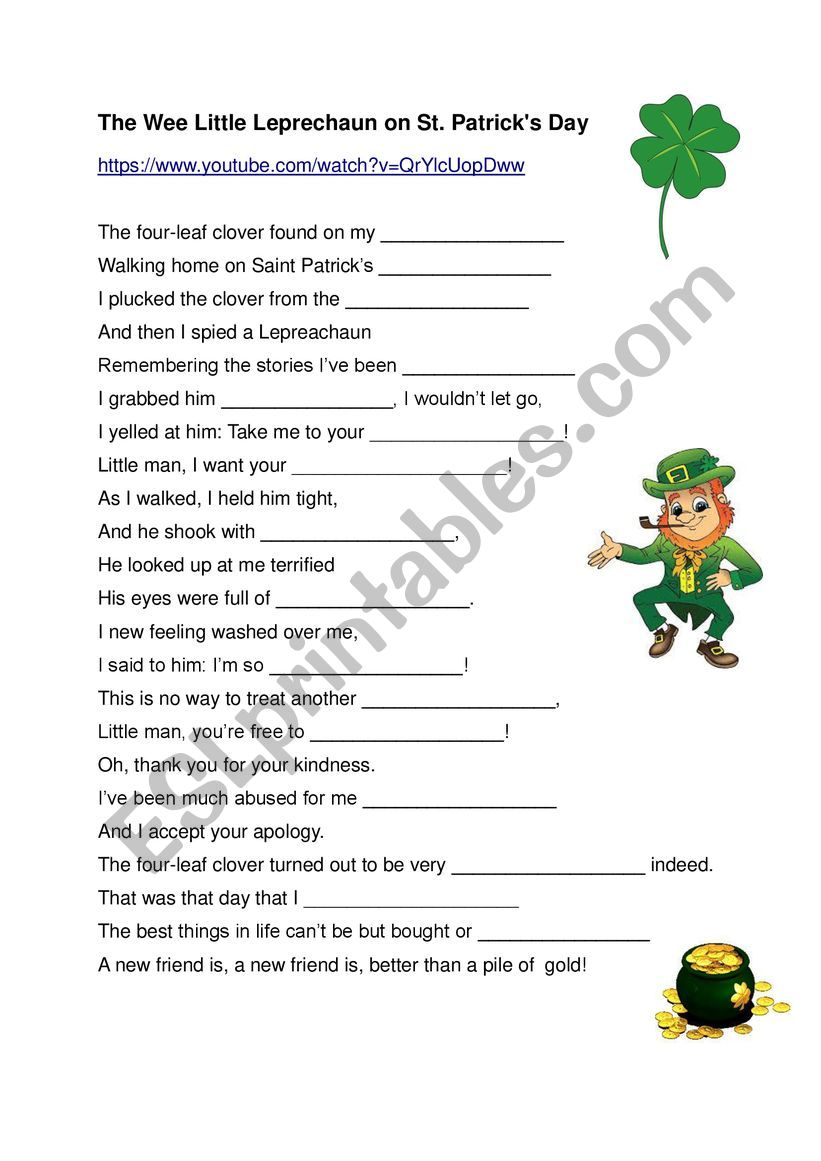 Song for Saint Patrick´s Day worksheet
