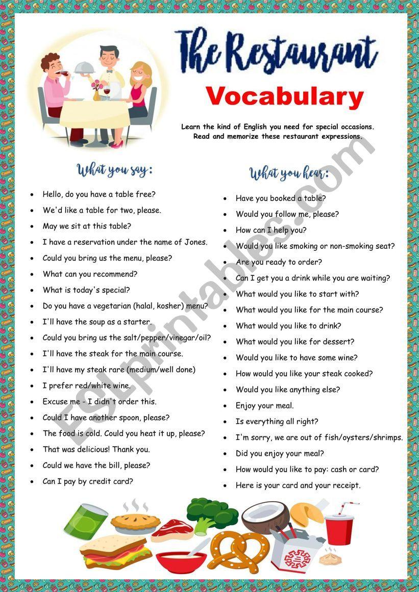 Restaurant Vocabulary - ESL worksheet by Solnechnaya