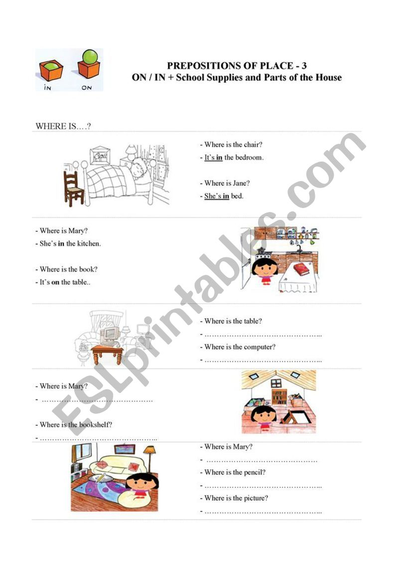 Prepositions of Place - 3 worksheet