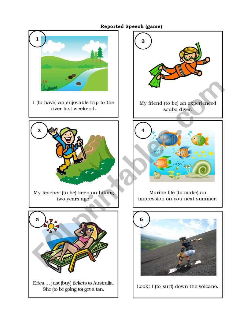 Reported Speech (card game) worksheet