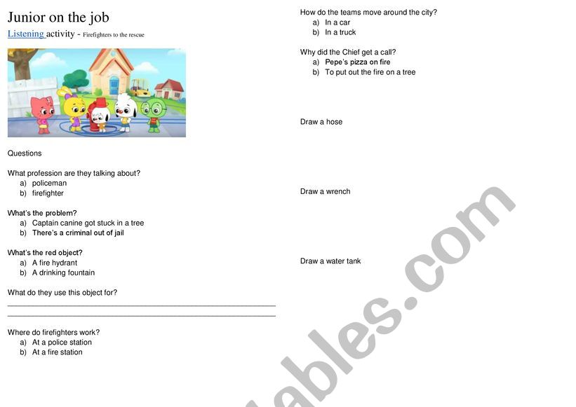 Junior on the Job cartoon - Elementary listening activity with keys and audio
