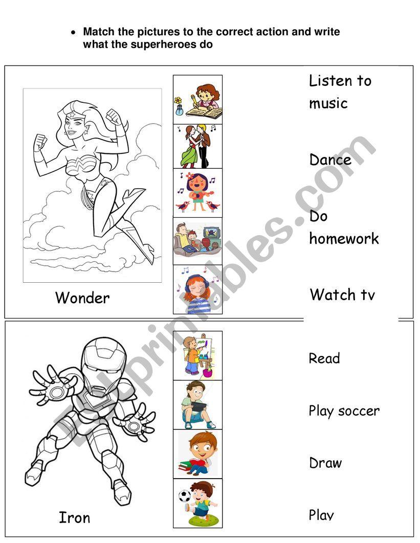 Hobbies for children worksheet